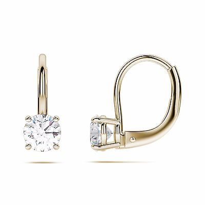 4 ct Round Cut Solitaire Stud Earrings in Solid 14k Real yellow Gold Leverback