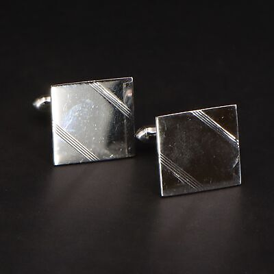 VTG Sterling Silver - SWANK Striped Square Men's Cufflinks - 9g