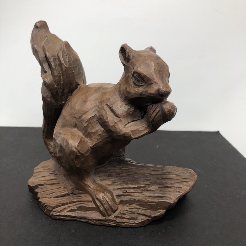 Vintage Hand Carved Wood Red Mill Squirrel Figurine