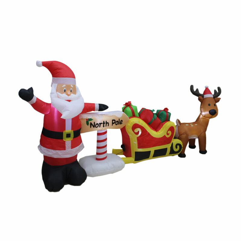 A Holiday Company 9 Foot Inflatable North Pole Scene Christmas Lawn Decoration