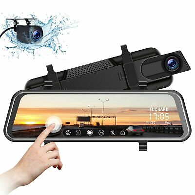 "Dash Cam TOGUARD 10"" Mirror Backup Camera Dual Lens Front Rear Full Touch Screen"