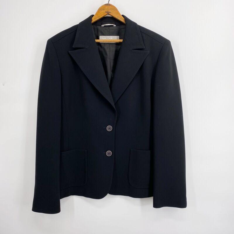 Max Mara Black Blazer 2 button Lined Jacket Pockets Womens US 12