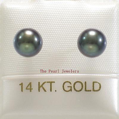 14k White Gold AAA 5.5-6mm High Luster Black Cultured Pearl Stud Earrings TPJ