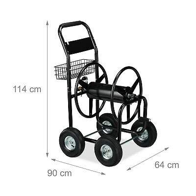 Hose Cart XL Metal Hosepipe Trolley Water Hose Reel 4 Wheels Garden Storage