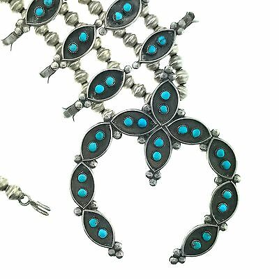 Zuni Sterling Silver Turquoise Petit Point Squash Blossom Necklace Set