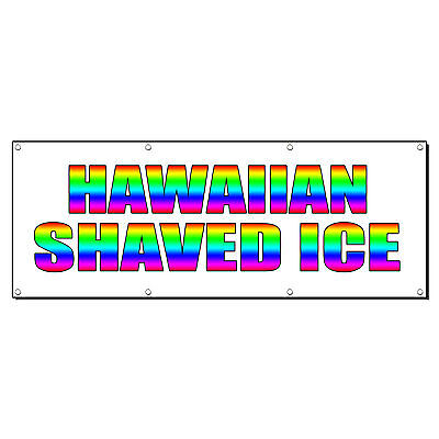 Hawaiian Shaved Ice Food Fair Promotion Sign Banner 3 X 6 W 6 Grommets