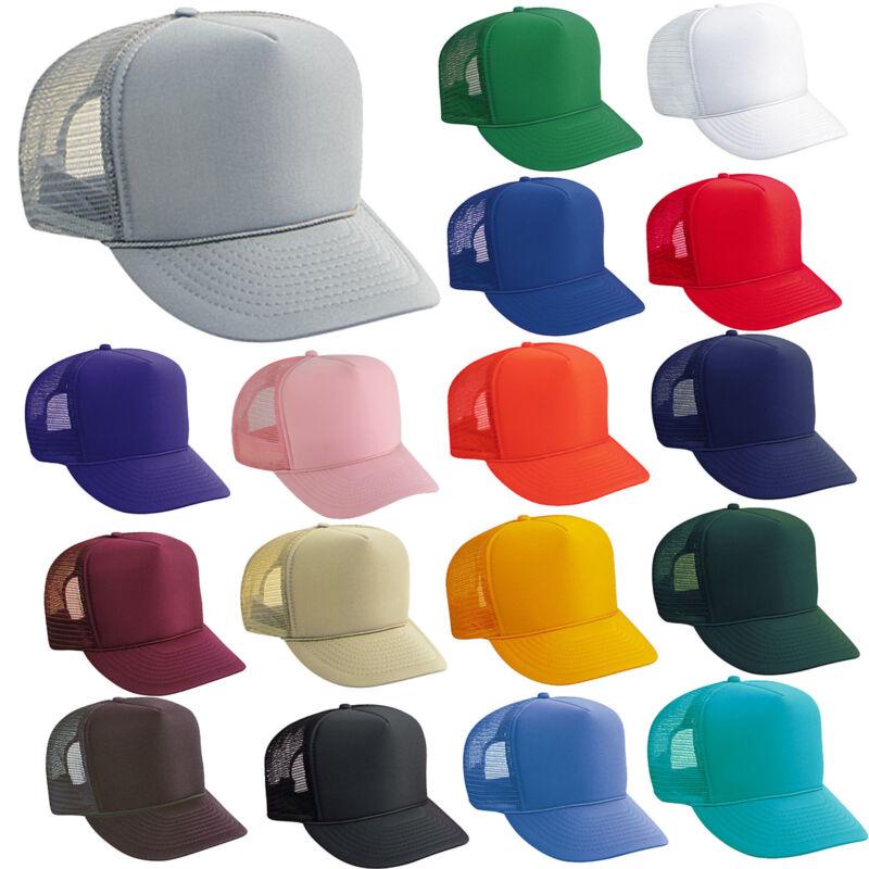 24 TRUCKER HATS ~ WHOLESALE LOT ~ SOLID COLORS Mesh Caps Adjustable SNAPBACK HAT