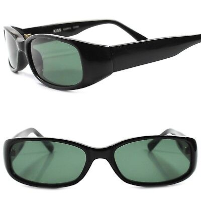 Classic Old True Vintage 90s Deadstock Urban Fashion Black Rectangle Sunglasses