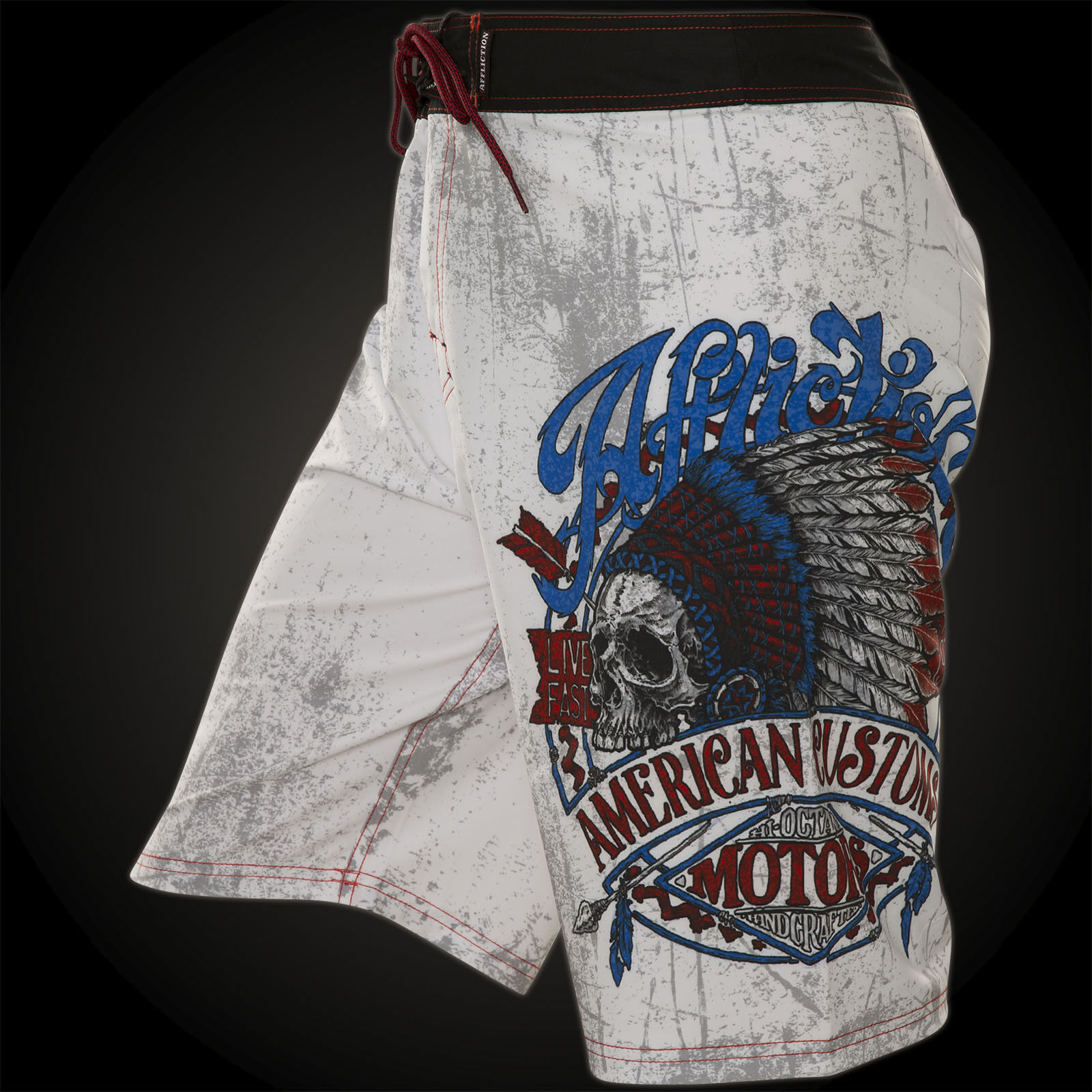 Affliction Mens Board Shorts Swim Trunks VISION QUEST Indian