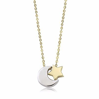 (14K Solid Yellow White Gold Moon Star Pendant Rolo Chain Necklace Set - Charm)