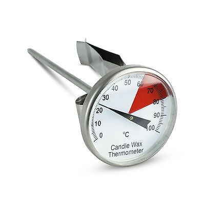 Colour Coded Stainless Steel Candle Wax Thermometer with a 40 mm Dial