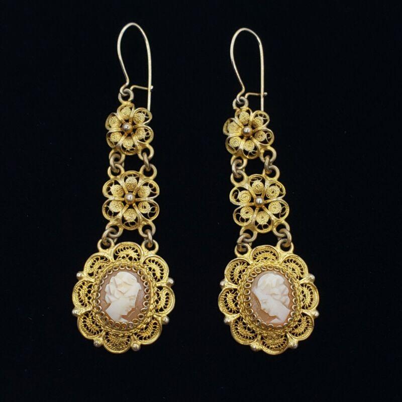 Vtg Antique Art Nouveau Art Deco Cameo Earrings 800 Silver Gold Vermeil Italy