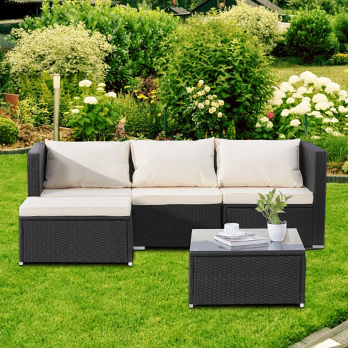 Garden Furniture - 5 PC Patio PE Rattan Wicker Sofa Set Backyard Outdoor Garden Furniture Cushioned