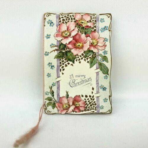 Vtg Christmas Card Ephemera Embossed tasseled Paper Holiday Greeting Antique