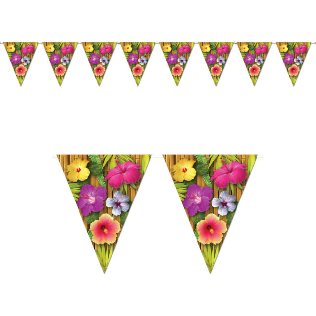 12ft Tropical Luau Flowers Summer BBQ Party Pennant Flag Banner Decoration