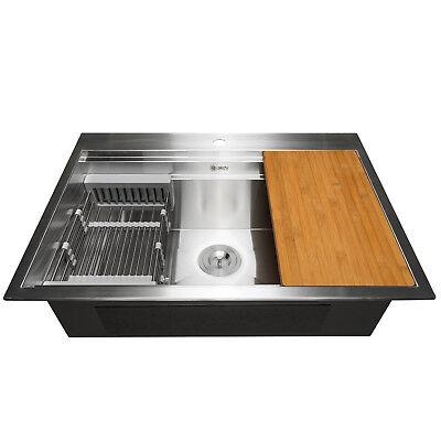 "32"" x 22"" x 9"" Top Mount Handmade Stainless Steel Single Bowl Kitchen Sink"