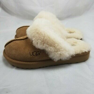 UGG Kids Cozy II Girl's Chestnut Leather Slippers US 1 Shearling Brown