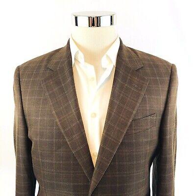 Jack Victor E THOMAS Wool Silk Linen Windowpane 2 Button Sport Coat Mens 38R