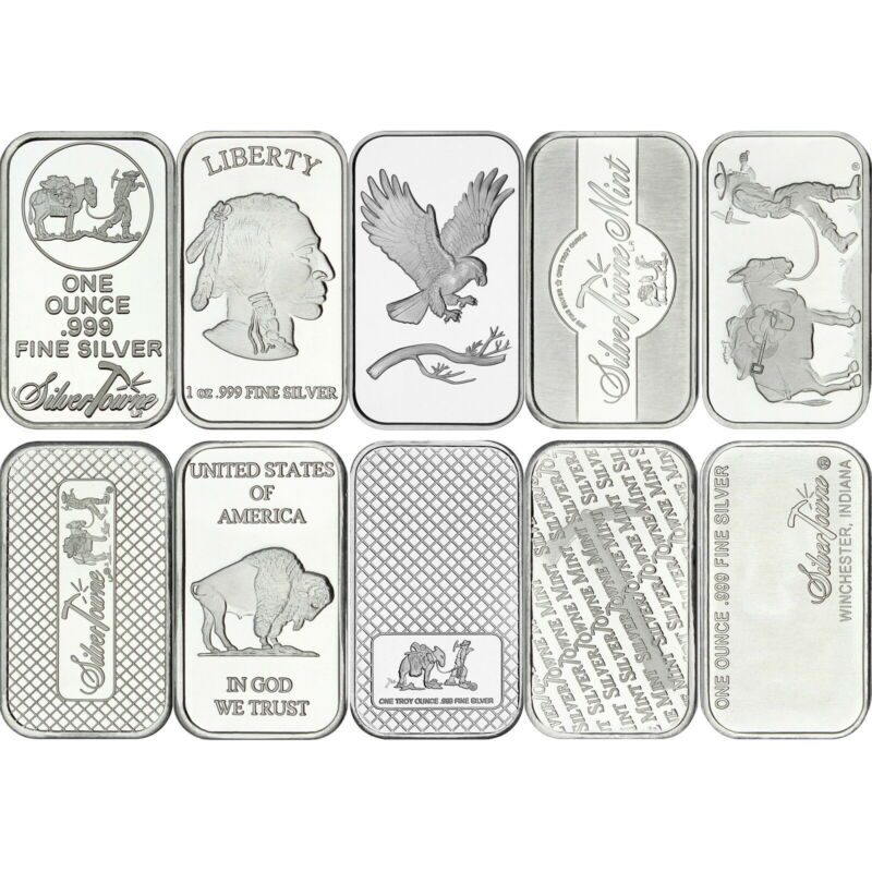 American Flag 1oz .999 Fine Silver Bar by SilverTowne LOT of 10