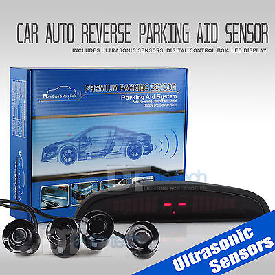 4 Parking Sensors LED Car Auto Backup Reverse Rear Radar System Alert Alarm -