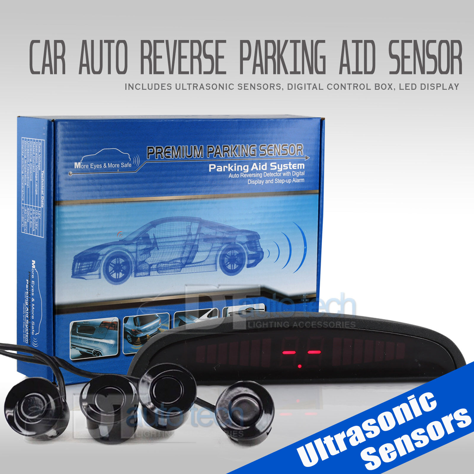 4 Parking Sensors LED Car Auto Backup Reverse Rear Radar Sys