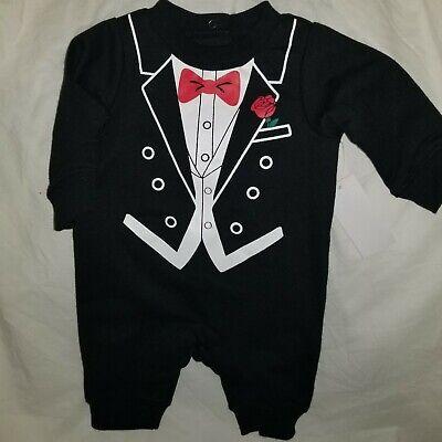 Baby Tuxedo Pajamas (Little Wonders Infant Boys' One Piece Tuxedo Sleeper/Pajamas Black 0-3M)