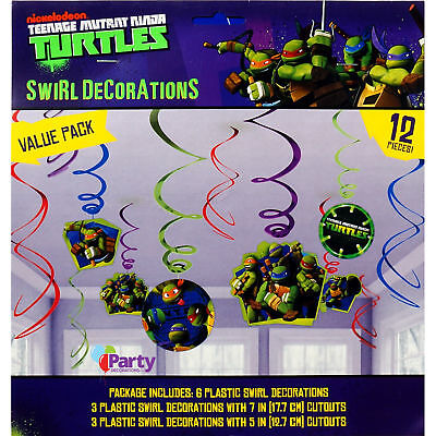 NEW Teenage Mutant Ninja Turtles Swirl Hanging Decorations Party TMNT 12 pieces - Ninja Turtles Party Decorations