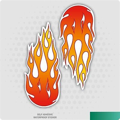 2 x Large Flames Stickers (Red/Orange) - Cool Funny Kids, Car, Van Decal