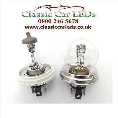 2X H4 P43T HEADLIGHT BULB ADAPTERS TO 410 HB12 P45T R2 H5 CLASSIC VINTAGE CAR