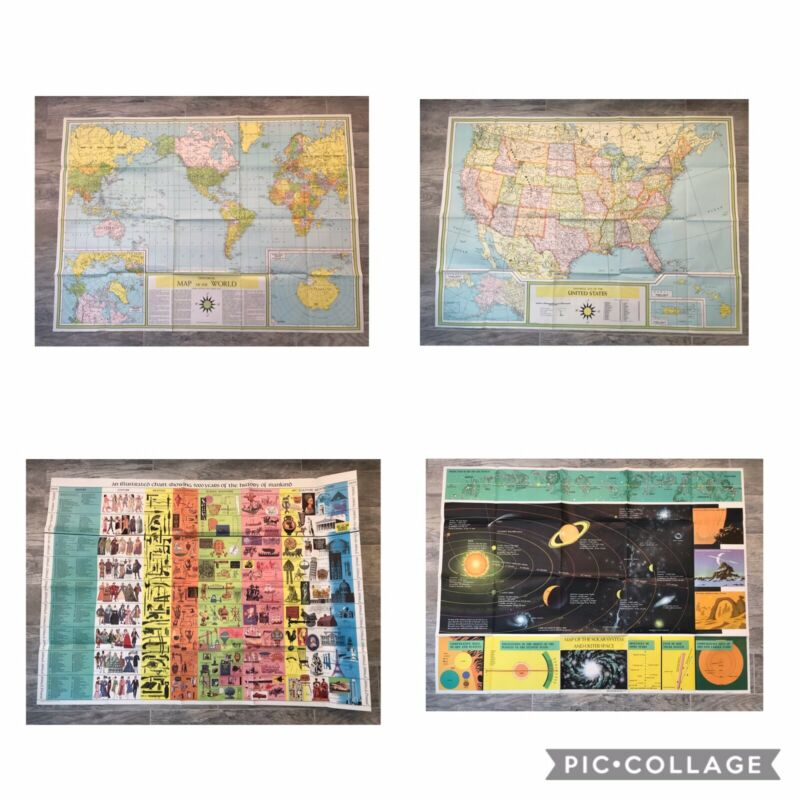 1960 Lithograph Maps Lot. World, United States, Solar System, 5000 Year History