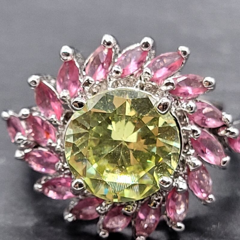 Vintage 925 Sterling Silver Ring  Flower With Green and Pink Glass Stone Size 7
