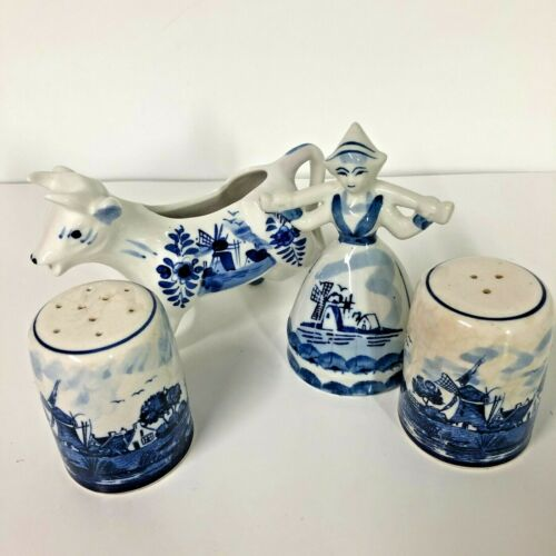 Delft Blue Lot 4 Cow Dutch Girl Salt and Pepper Shaker Hand Painted Vintage