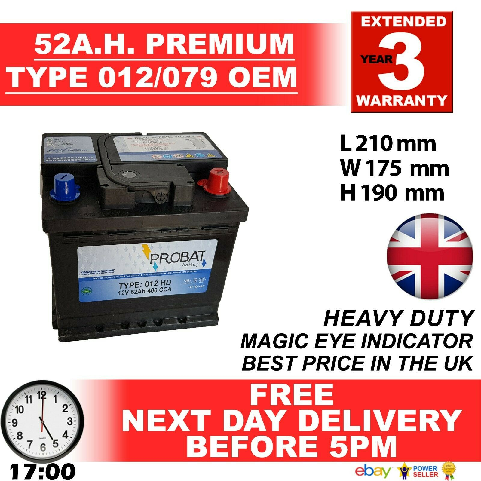 Car Parts - 012 CAR BATTERY O.E.M. QUALITY 12V EXTRA HEAVY DUTY100% MAINTENANCE FREE 24HRDEL