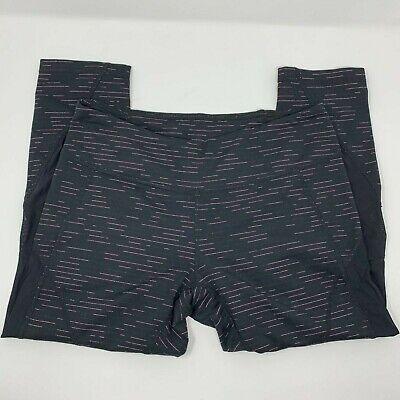 Zella Women's Crop Yoga Leggings Black Pink Space Dye Striped Mesh Panels Size M