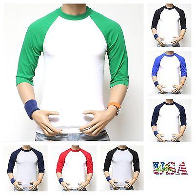 -  HEAVY WEIGHT 3/4 Sleeve Baseball Raglan Sport Jersey T-Shirt Crew Neck PRO CLUB