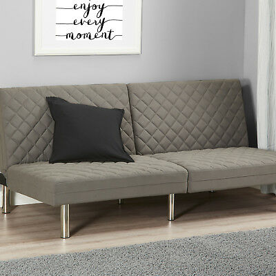 MEMORY FOAM FUTON Convertible Quilted Sofa Bed Couch Sleeper Lounge Living Room (Wood Futon)