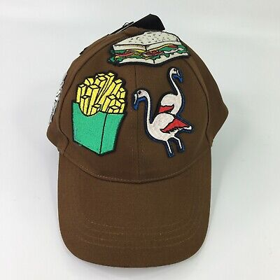Zara Men Food Flamingo Embroidered Patches Brown Baseball Cap Dad Hat NWT