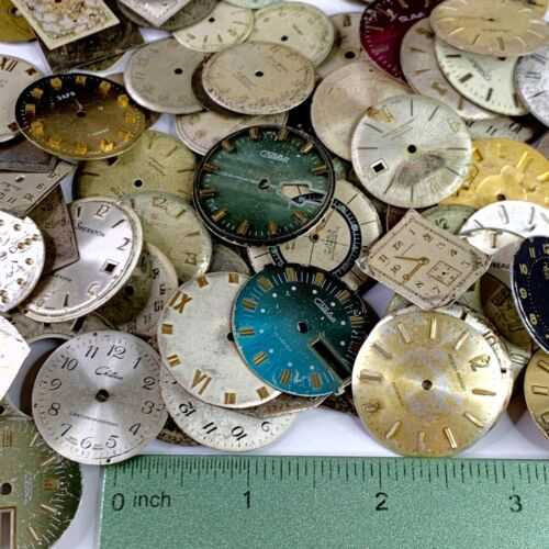 10 Watch Dials Face Distressed Part Steampunk Watchmaker Lot Altered Art Vintage