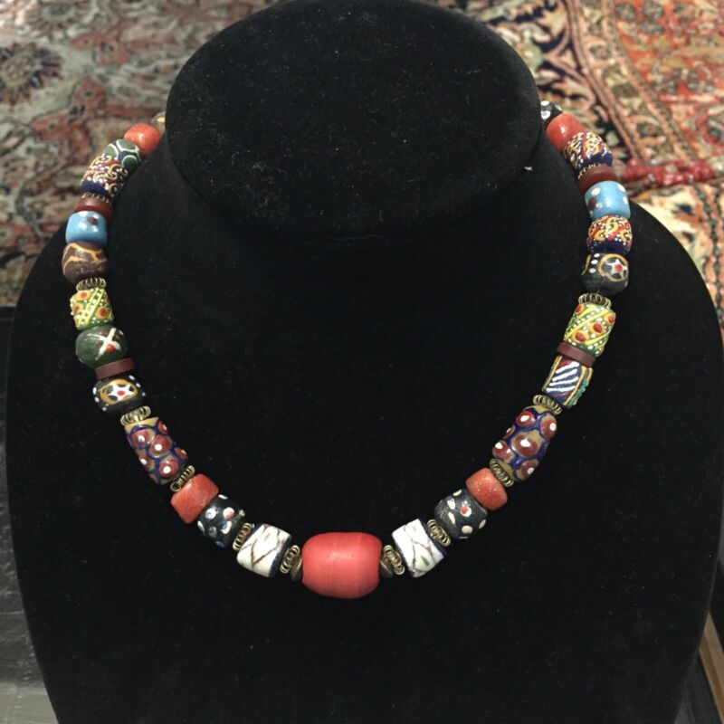 African Venetian Glass Trade Bead Necklace 17 inches