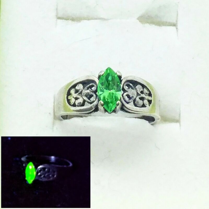 925 Silver Uranium Glass Marquise Ring Size 7 Filigree Faceted Vaseline Navette