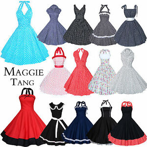 Maggie-Tang-50s-60s-Vintage-Rockabilly-Party-Dress-Prom-Cocktail-Retro-Size-8-24
