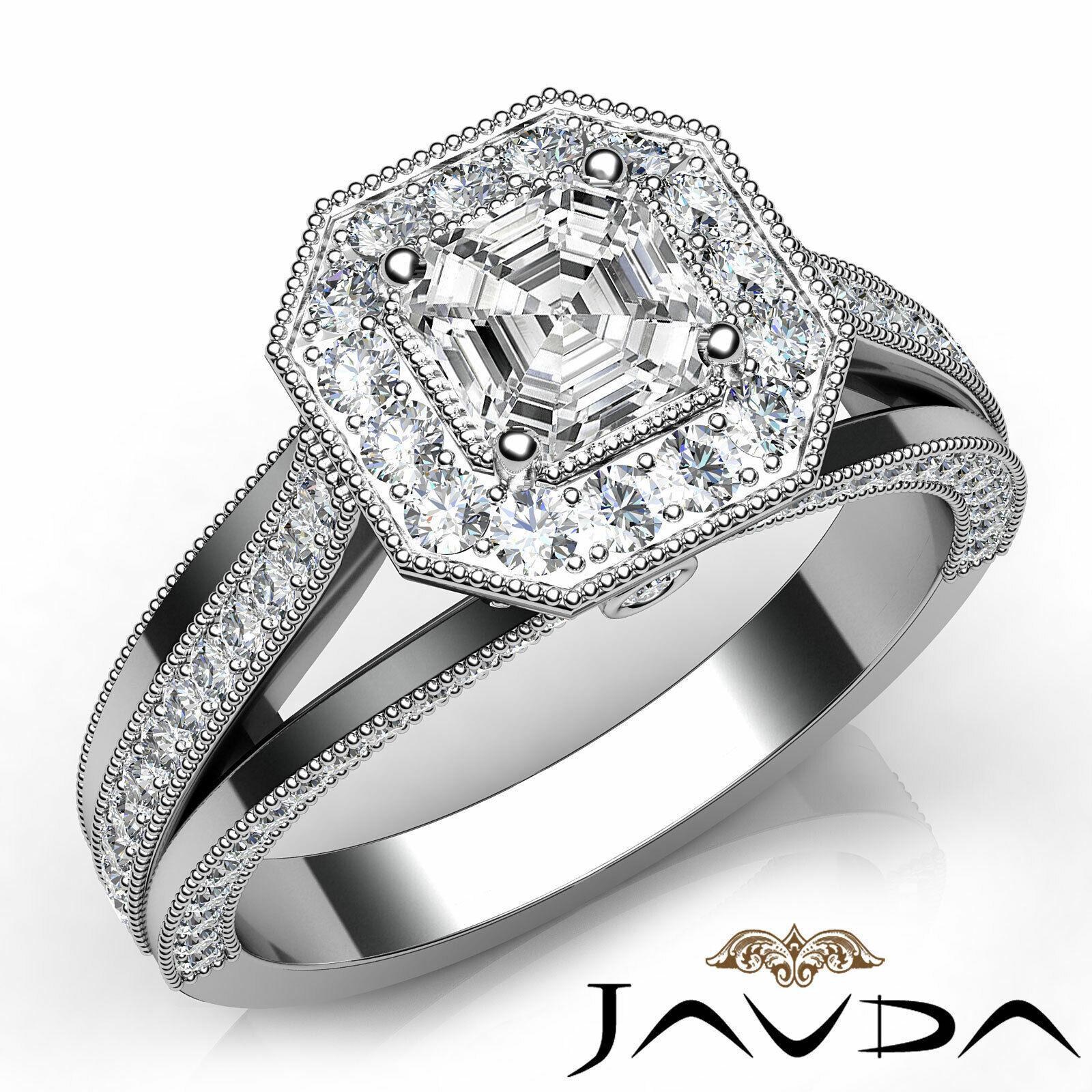 Asscher Cut Halo Pave Set Diamond Engagement Ring GIA F VS2 18k White Gold 1.4Ct