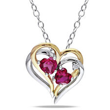 Amour Two-tone Silver Created Ruby and Diamond Accent Heart Necklace