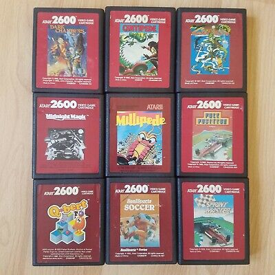 9x Red Label Games For Atari 2600 VCS Q*Bert Crossbow Millipede Tested