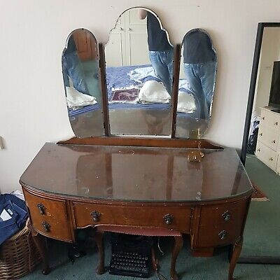 Antique 1940s Dressing Table With Mirror