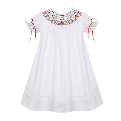 Red and Green Classic Smocked Christmas Bishop Dress with Ribbons NEW heirloom ()
