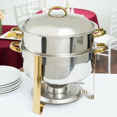 Choice 14 Qt. Deluxe Round Gold Accent Stainless Steel Soup Chafer Dish Catering