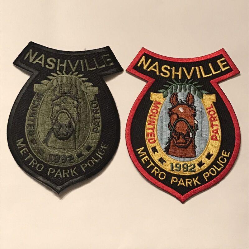 Mounted Patrol Metro Park Police Nashville Davidson County Tennessee Patch Set
