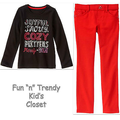 NWT Gymboree HOLIDAY SHOP Girls Size 5 6 Ponte Pants & Tee Shirt Top 2-PC OUTFIT