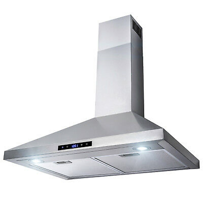 "30"" Stainless Steel Wall Mount Range Hood Touch Control Mesh Filters and Clock"
